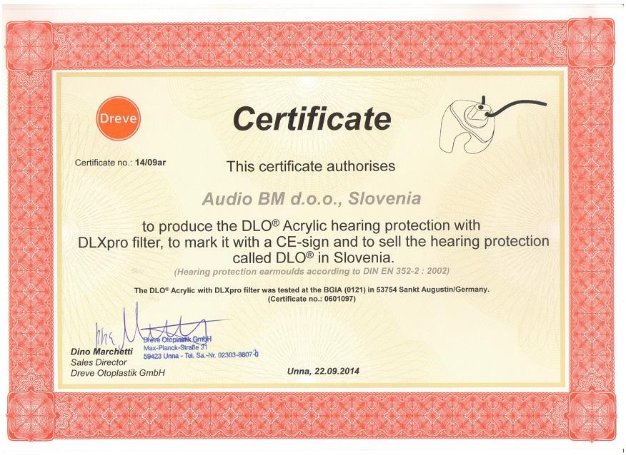 AUDIO BM certifikat za proizvodnjo individualnih izdelkov za zaščito sluha